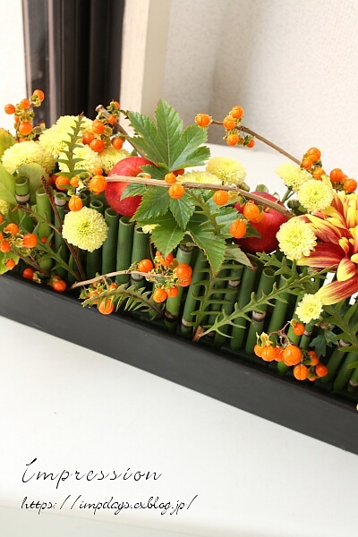 定期装花から ツルウメモドキ_a0085317_13485553.jpg