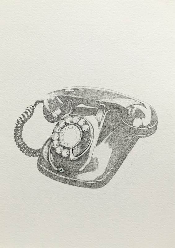 点描 黒電話_d0277867_17022762.jpg