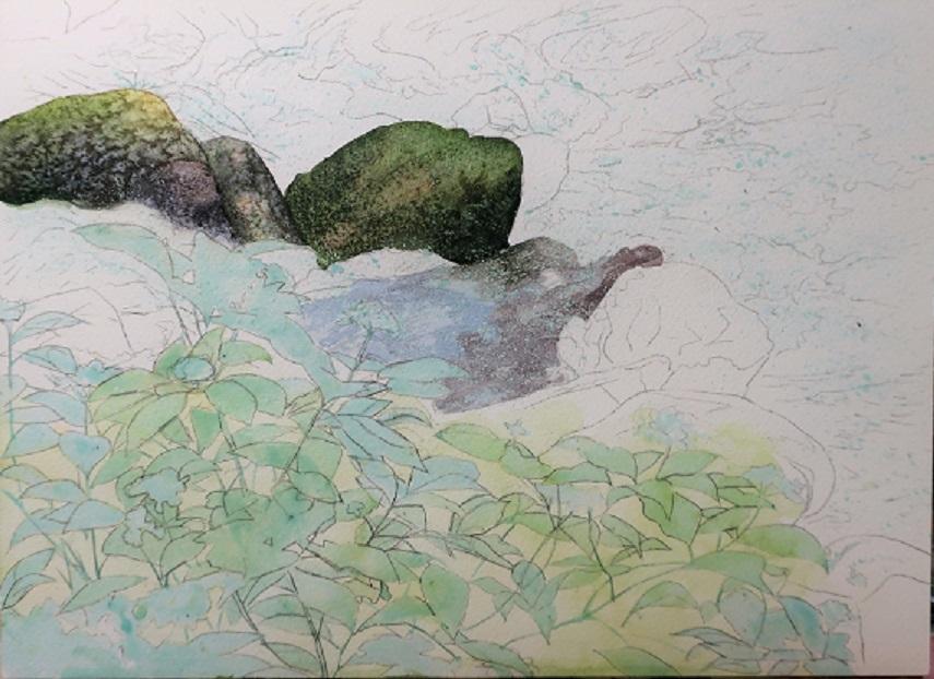8月に行った奥多摩散策の取材で描いた渓流_e0309795_20233218.jpg