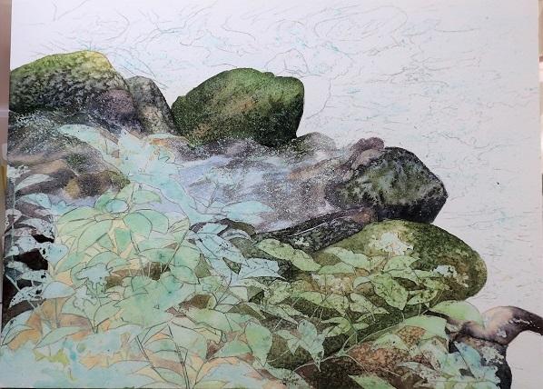 8月に行った奥多摩散策の取材で描いた渓流_e0309795_20233911.jpg