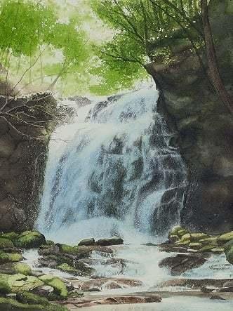 8月に行った奥多摩散策の取材で描いた渓流_e0309795_20585707.jpg